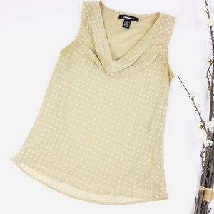 89th & Madison Gold Cowl Neck Swiss Dot Top